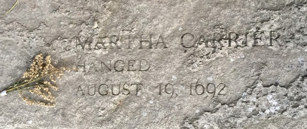 Memorial bench for Martha Allen Carrier at Salem Witch Trial Memorial
