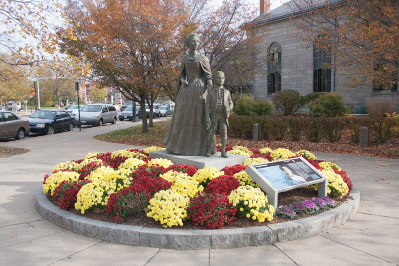 This statue of Abigail Adams and a young John Quincy Adams is next to United First Parish Church, where John Abigail, John Quincy, and Louisa Adams are buried.