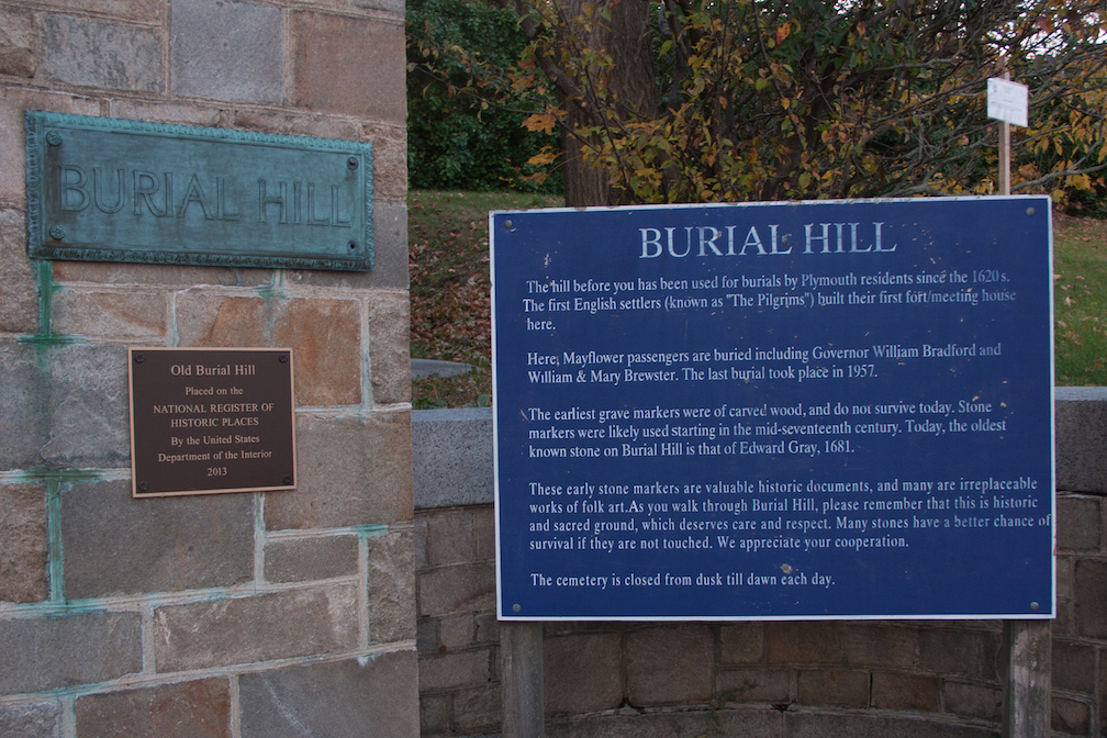 At the entrance to Burial Hill