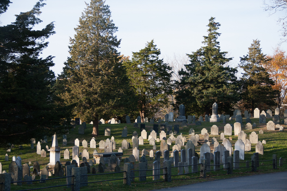 This is just a tiny area of the vast Cobb's Hill Cemetery next to the Unitarian Church of Barnstable.